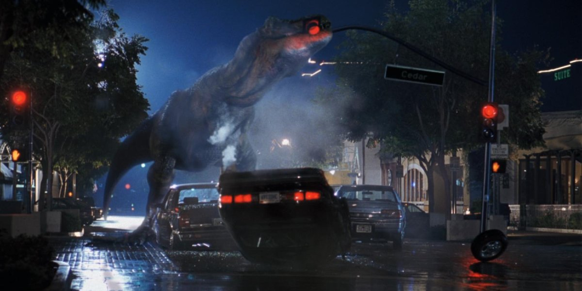 A T-Rex destroying a streetlight during the San Diego Incident in The Lost World: Jurassic Park