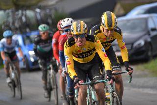 Pascal Eenkhoorn leads Jumbo-Visma teammate Wout van Aert at the 2020 Omloop Het Nieuwsblad