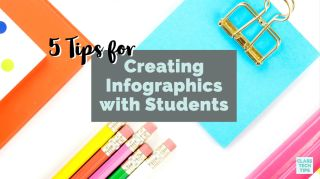 Graphic with clipboard and pencils: 5 Tips for Creating Infographics with Students