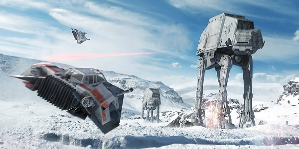 A battle unfolds on Hoth in Star Wars: Battlefront.