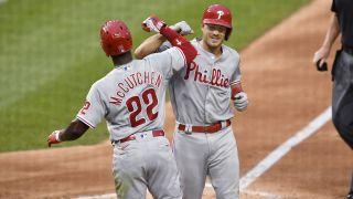LF Andrew McCutchen (22), C J.T. Realmuto (10), Philadelphia Phillies