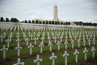 Crosses stand at the cemetery where 16,000 French soldiers killed in the World War I Battle of Verdun.