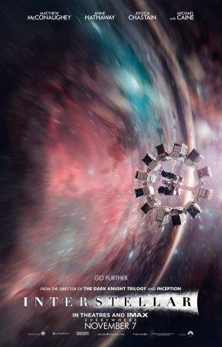 "A poster for the 2014 film ""Interstellar"" shows the spaceship Endurance flying through a wormhole."