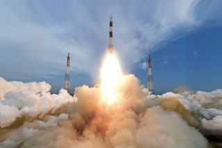 An Indian Polar Satellite Launch Vehicle rocket blasts off from the country's Satish Dhawan Space Centre on Sept. 26, 2016.