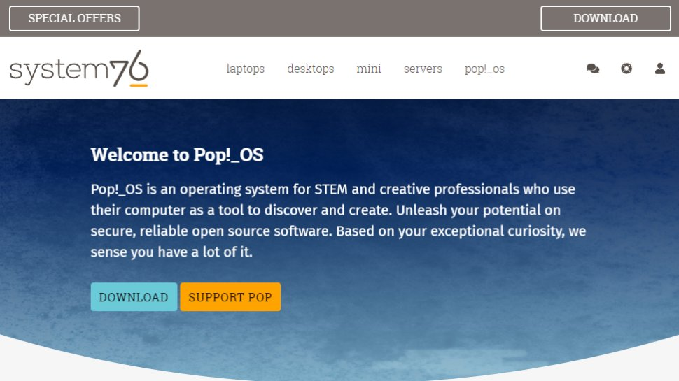 Website screenshot for Pop!_OS