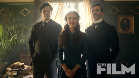 Millie Bobby Brown, Henry Cavill and Sam Claflin in Enola Holmes.