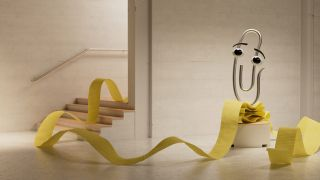 A high def render of Clippy the paperclip perched on a ribbon of notepaper