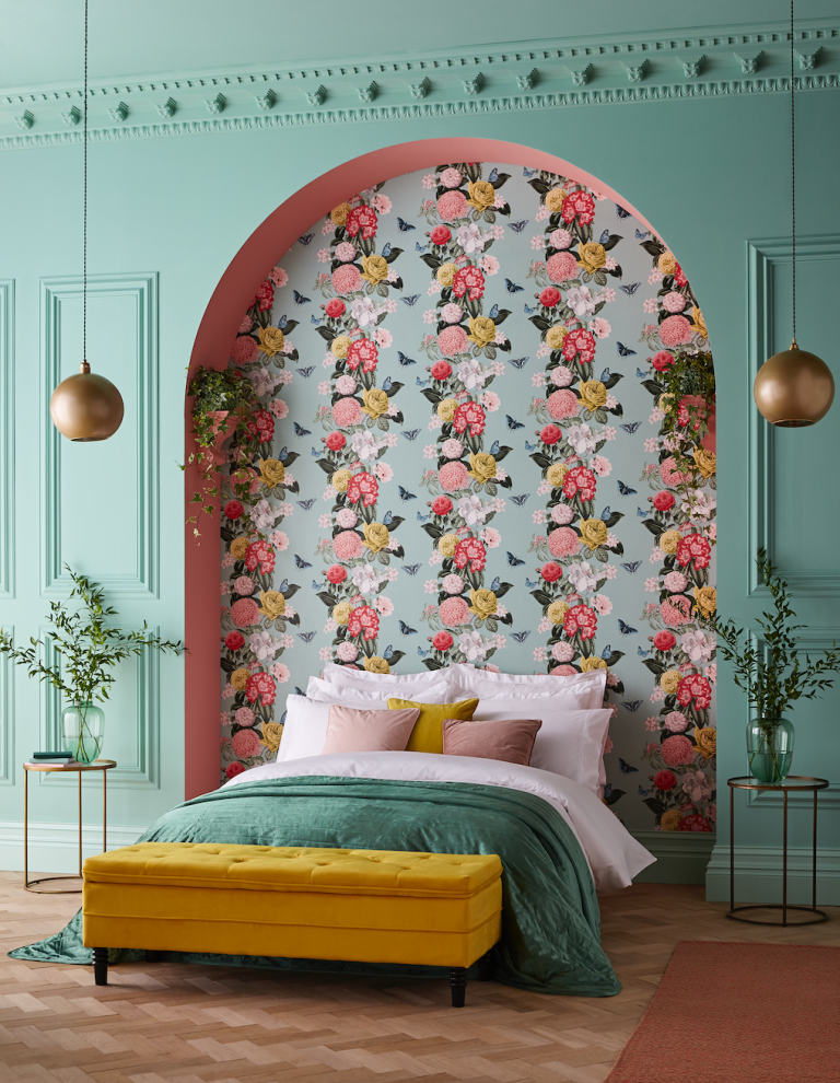 how to hang wallpaper - feature wall behind bed
