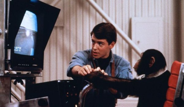 Project X Matthew Broderick and his chimp at the flight simulator