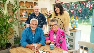 Paul Hollywood and Prue Leith (bottom, left to right) are judging Great British Bake Off 2021 with Matt Lucas and Noel Fielding as the presenters