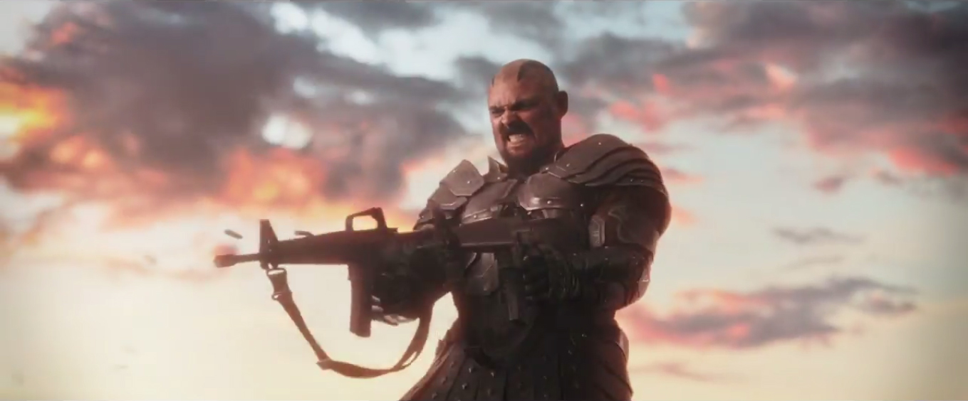 Karl Urban Skurge Firing Gun in Thor Ragnarok