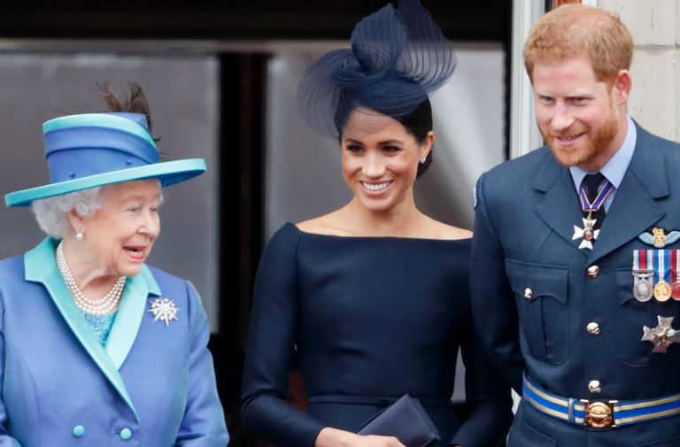queen supports prince harry meghan markle canadian brooch