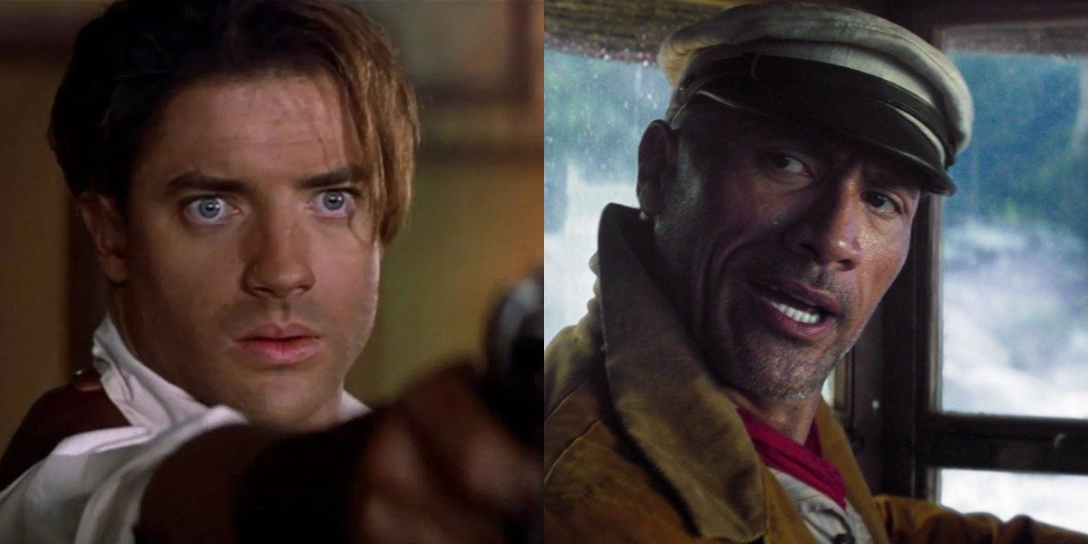 Brendan Fraser in The Mummy and Dwayne Johnson in Jungle Cruise