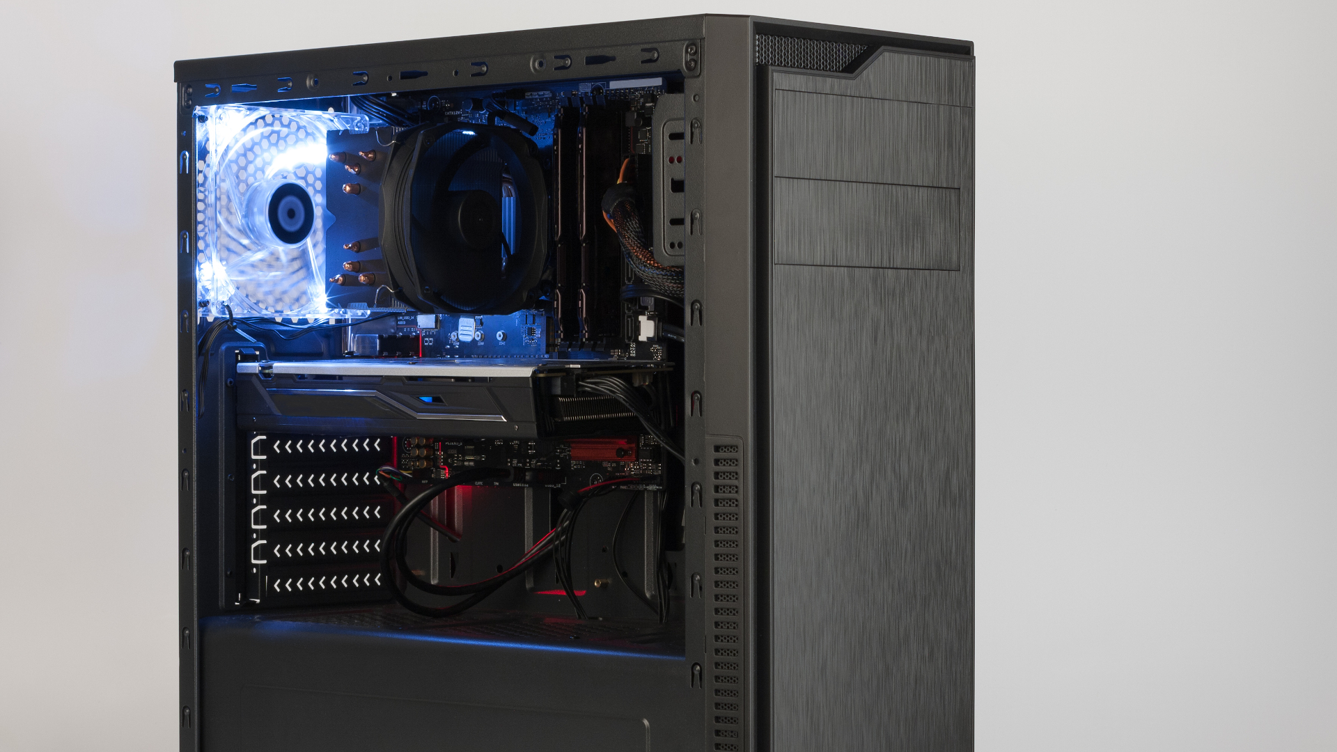 Desktop PC with side panel removed