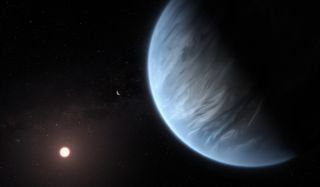 In a study published Sept. 11, 2019, researchers at the University College London released this image to illustrate the detection of water vapor in the atmosphere of exoplanet K2-18b.