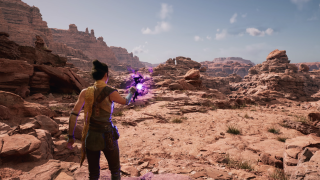 Screenshot from within Unreal Engine 5 of a character in front of a canyon landscape