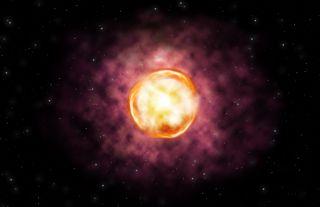 An illustration of the SN 2016iet supernova explosion.