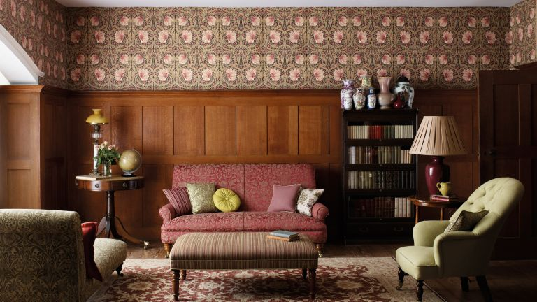 Studio McGee wallpaper exact match in a living room, traditional decor with William Morris wallpaper