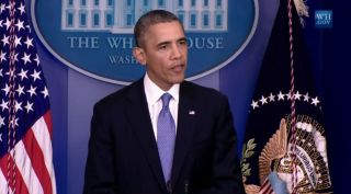 U.S. President Barack Obama gives a statement to reporters on Sept. 29, 2013 to discuss the looming government shutdown of Oct. 1, which would shut down much of NASA.
