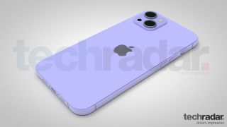 Ein Entwurf des iPhone 13 in lila