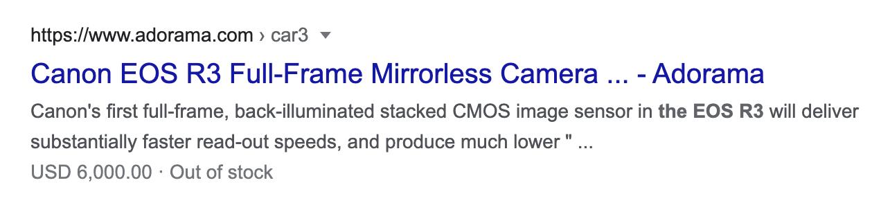 Canon EOS R3 listing