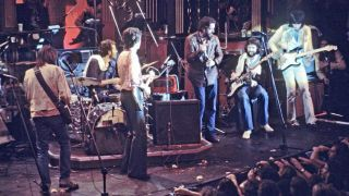 The Band with Neil Young, Paul Butterfield, Eric Clapton and Ron Wood during the recording of The Last Waltz