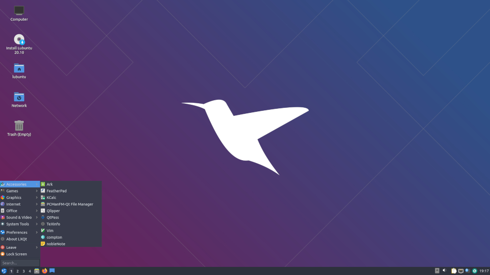 screenshot of Lubuntu's desktop