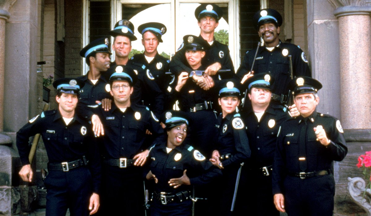Police Academy the recruit class goofs off for the camera