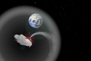 artist's depiction of what a spacecraft spewing asteroid dust might look like.