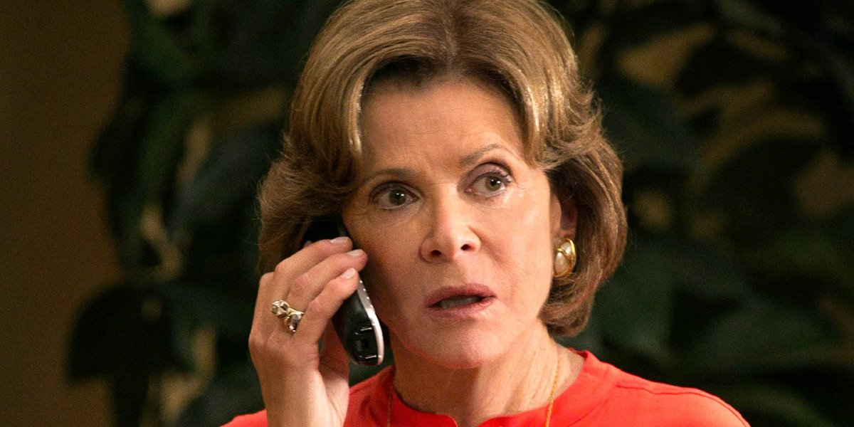 Jessica Walter takes an upsetting phone call in Arrested Development.