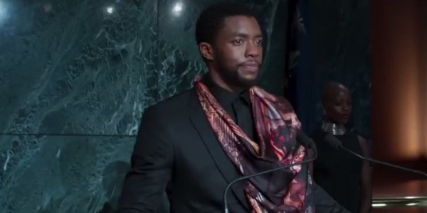 T'Challa (Chadwick Boseman) at the United Nations giving a speech in Black Panther