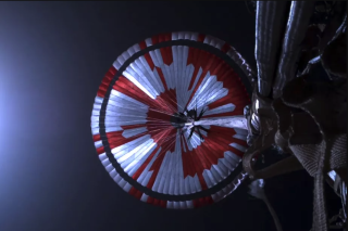 The Perseverance rover's parachute contains a secret binary code in its red and white stripes.