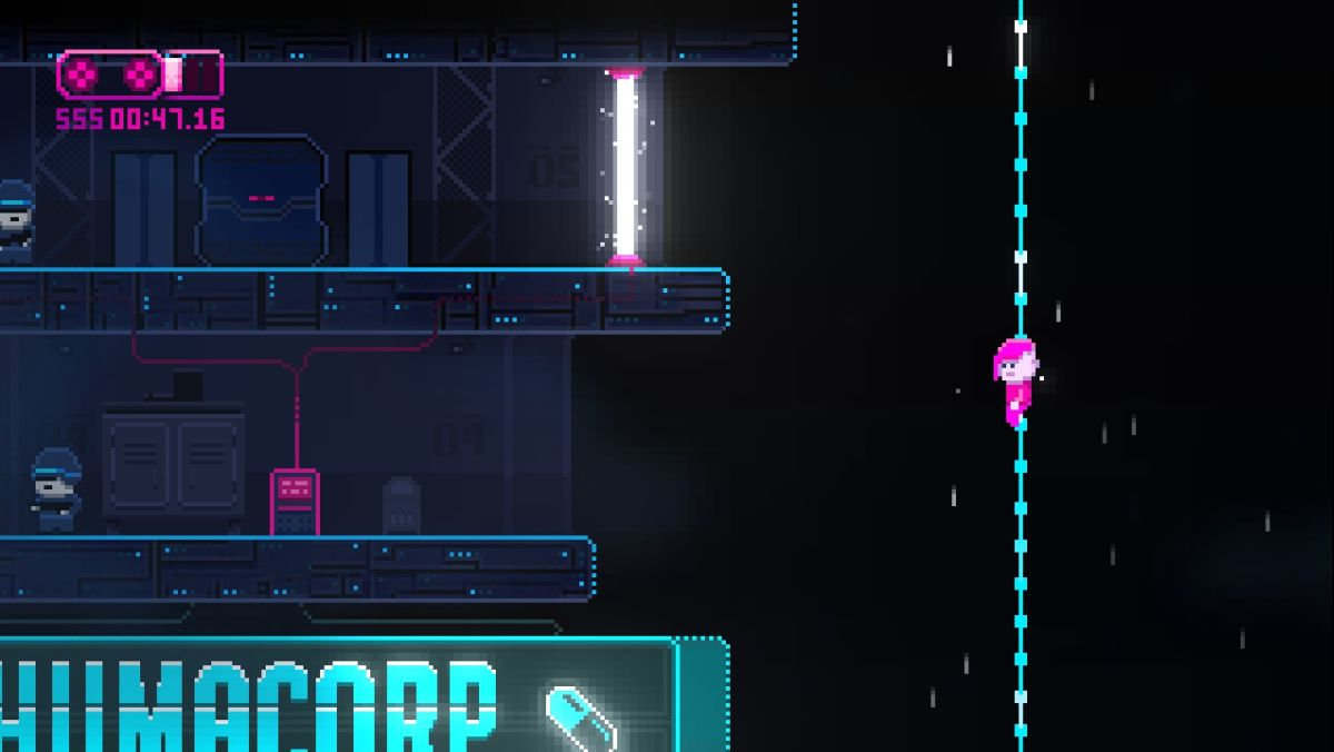 Lazr is a cyberpunk platformer with a free demo and a thing for cloth physics