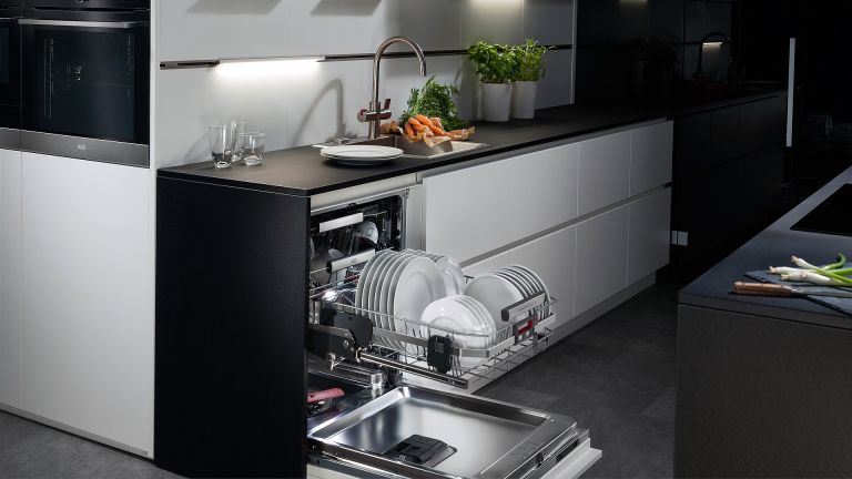 A kitchen containing the best dishwasher