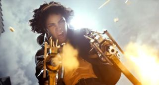 The assassin Julianna from Deathloop, she is leaping and shooting a submachine gun in both hands.