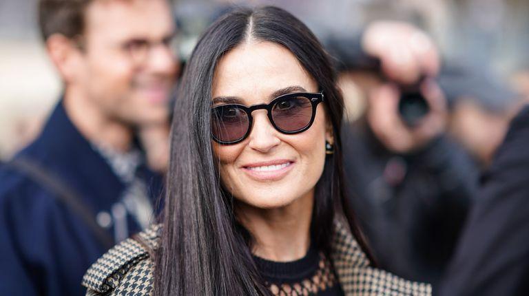 Demi Moore wears sunglasses, outside Dior, during Paris Fashion Week - Womenswear Fall/Winter 2020/2021, on February 25, 2020 in Paris, France.