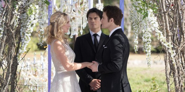 the vampire diaries june wedding caroline forbes damon salvatore stefan salvatore season 8