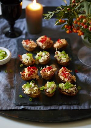 Make these moreish and crowdpleasing loaded potato skins for a tasty party treat