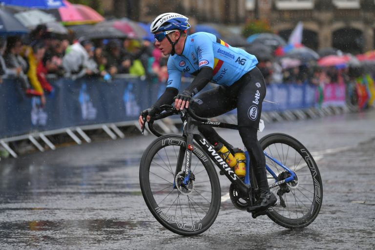 Remco Evenepoel riding the Yorkshire 2019 World Championships road race