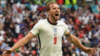England's Harry Kane celebrates the second goal at England vs Germany EURO 2020.
