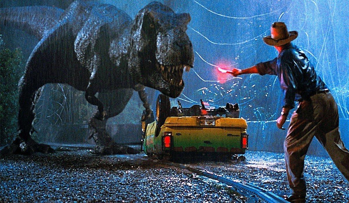 T-Rex near overturned Jeep Juarassic Park
