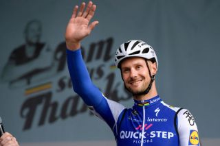 Tom Boonen waves to his fans at his 'farewell race' in April 2017