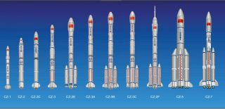 An image of China's Long March rocket family. China is developing the new Long March 8 rocket to be a reusable booster.