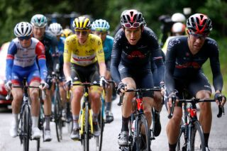 Geraint Thomas (Ineos Grenadiers) works at the front of the peloton on stage 9 of the Tour de France in Tignes