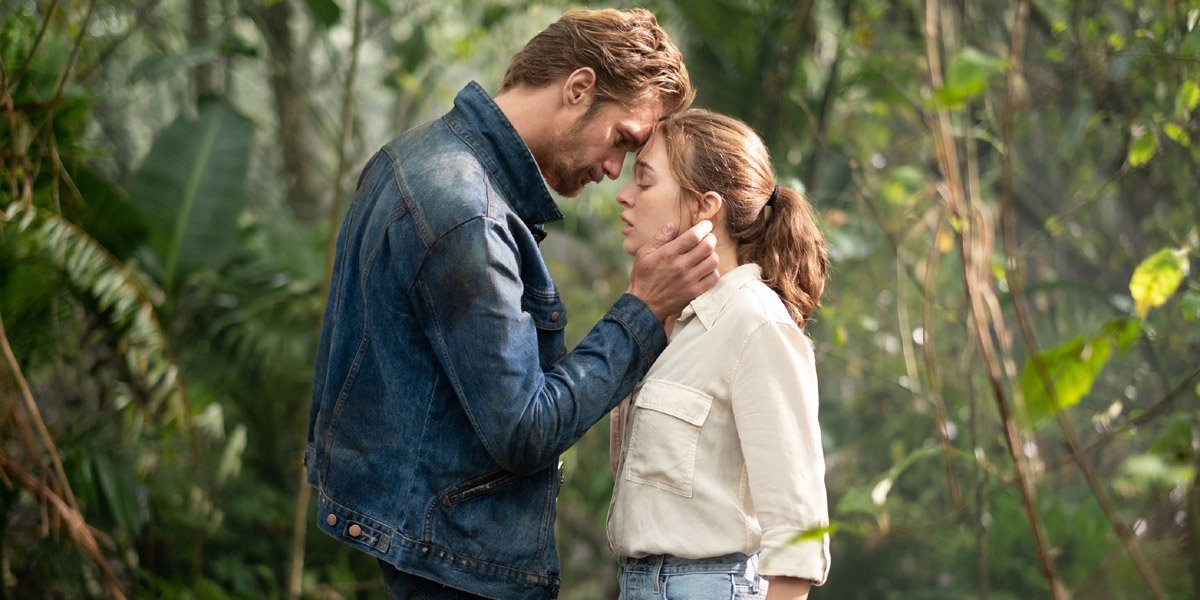 Alexander Skarsgard as Randall Flagg and Odessa Young as Fran Goldsmith in The Stand