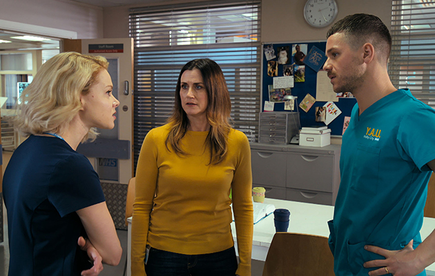 Ange Godard Dominic Copeland and Chloe Godard in Holby City