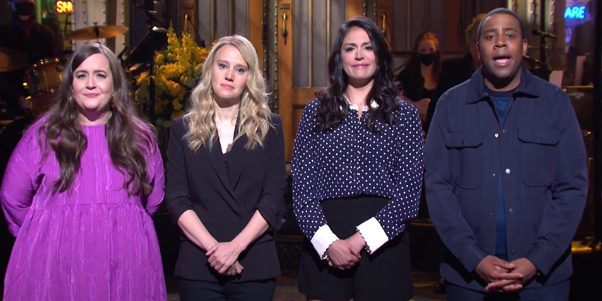 Aidy Bryant, Kate McKinnon, Cecily Strong and Kenan Thompson on Saturday Night Live.