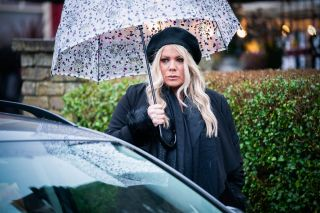 Sharon Beale goes to a funeral in EastEnders