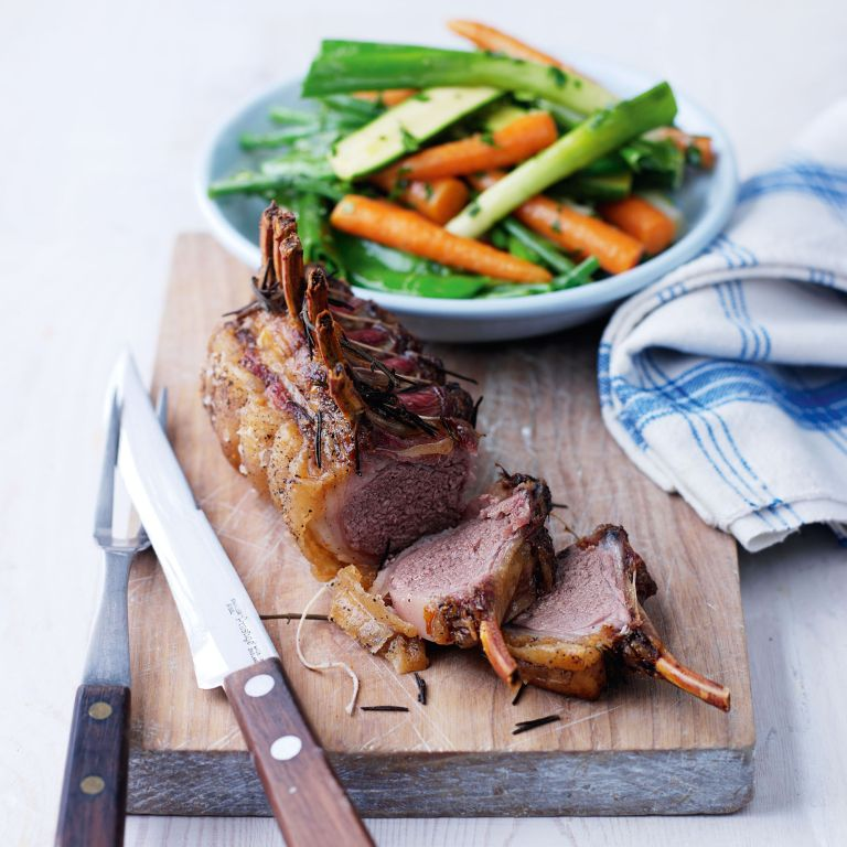 Roast Rack of Lamb with Spring Veg and Hot Herby Dressing recipe-new recipes-woman and home