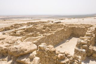 the dead sea with the archaeological site called the qumran where the dead sea scrolls were stored